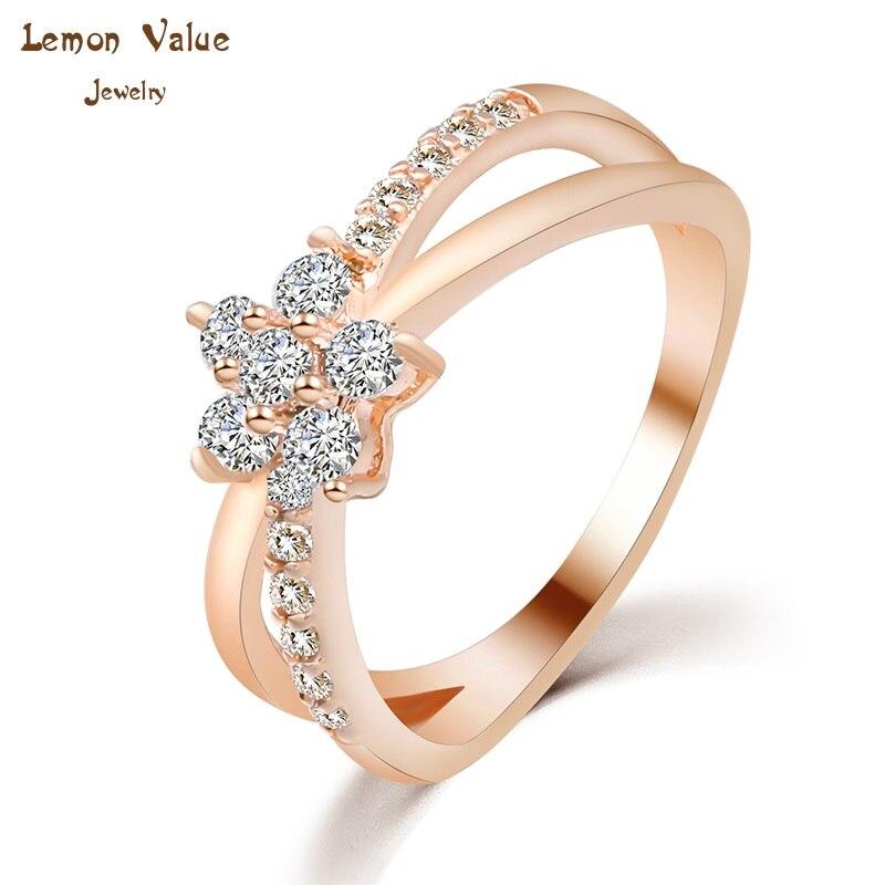 ✅Лимон значение New Romantic Кристалл Свадебные Кольца золото Цвет ... 2b4e9c752ff