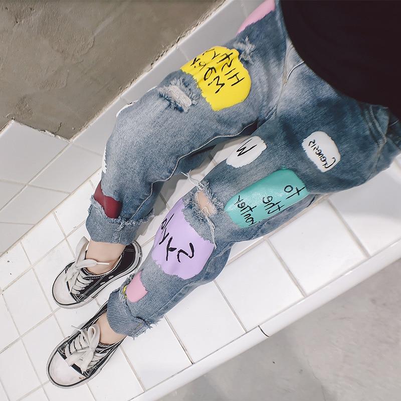 100% QualitäT Mode Baby Mädchen Und Jungen Cartoon Löcher Jeans Hosen 2019 Herbst Kinder Denim Hose 3-8 Jahre Alt Mädchen Elastische Taille Hosen Reinigen Der MundhöHle.