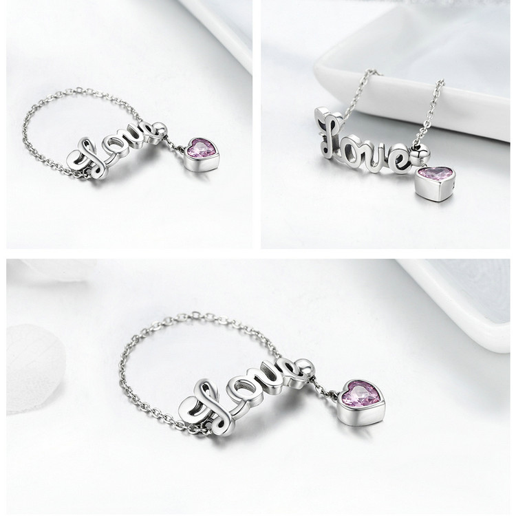 925 Sterling Silver Love Letter Adjustable Ring