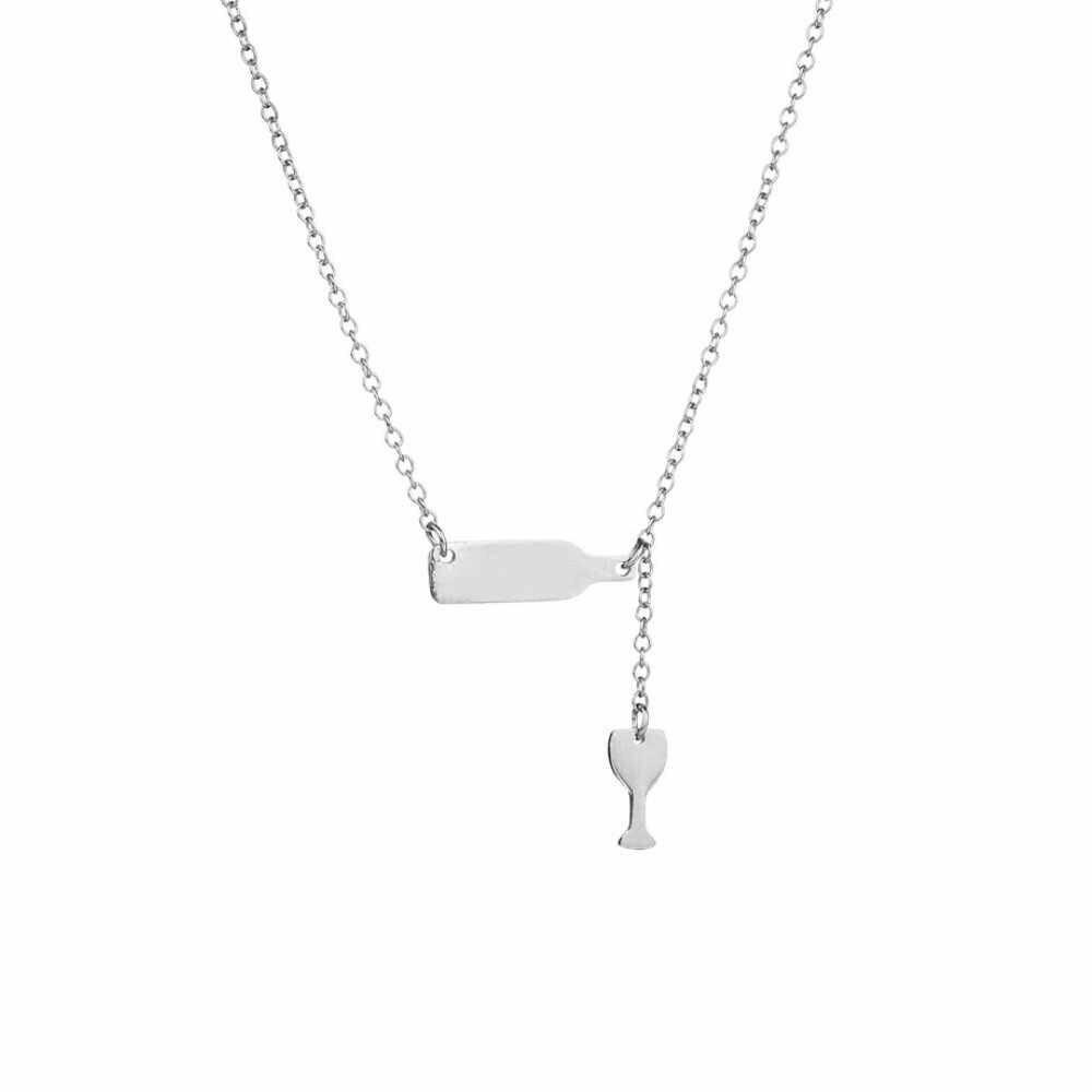 Модное Длинное ожерелье с подвеской в виде пивной чашки для женщин, бутылка для вина, Серебряное розовое золото, треугольное ожерелье, массивные ювелирные изделия, 4 H