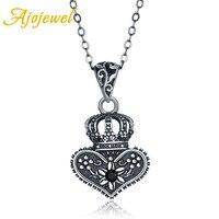 Ajojewel Día de San Valentín joyería vintage negro collar corona reina de corazones custome 925 plata esterlina joyería de lujo Retro