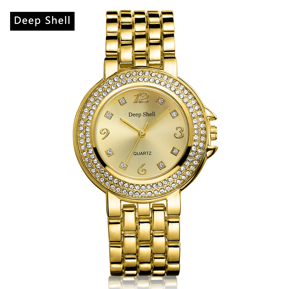 Deep Shell Brand Gold Women Fashion Luxury Watch Quartz Stainless Steel Diamond Ladies WristWatches Dress Women Watches DS008 onlyou luxury brand fashion watch women men business quartz watch stainless steel lovers wristwatches ladies dress watch 6903