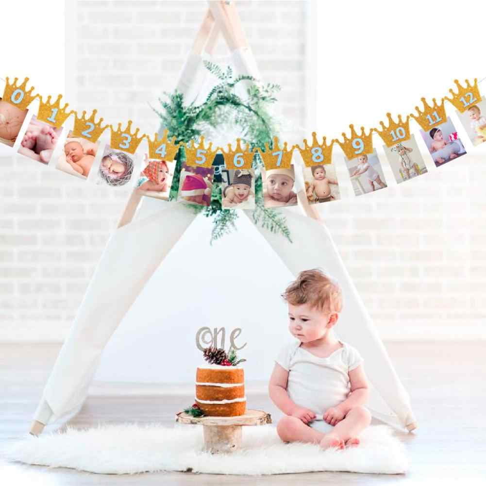 a49d272f97e Home Baby Shower Glitter Crown Digital Banner Photo Frame Birthday Party  Photo 1-12 Months