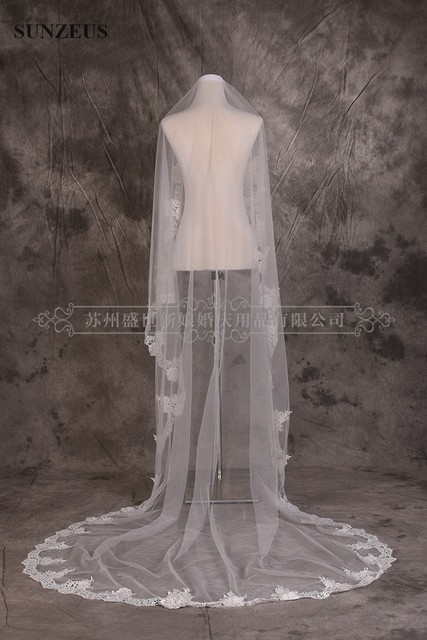 Cathedral Wedding Veil 3M Long Ivory Tulle Bridal Veils With High Quality Lace Edge velo novia