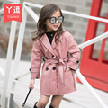 Girls coat winter 2016 a double breasted jacket in Korean long sleeved casual waist coat free shipping