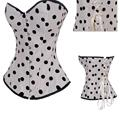 2016 Lace Up Back Button Front Closure White Satin Black Polka Dot Corsets And Bustiers Women Corsets Overbust corpetes S-2XL