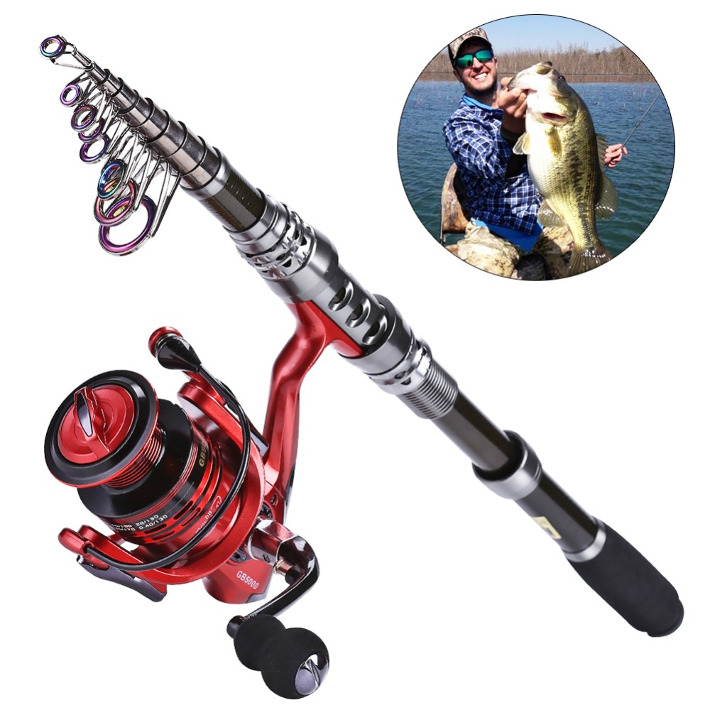 Sougayilang 2.4M Carbon Telescopic Fishing Rod with GB3000 Series Red/Green/Blue 3color Spinning Fishing Reel Fishing Pole Set sougayilang 1 8 3 0m fishing rod and reel olta carbon fiber telescopic spinning rods feeder carp fishing rod with 14bb reel set