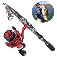 Promo offer Sougayilang 2.4M Carbon Telescopic Fishing Rod with GB3000 Series Red/Green/Blue 3color Spinning Fishing Reel Fishing Pole Set