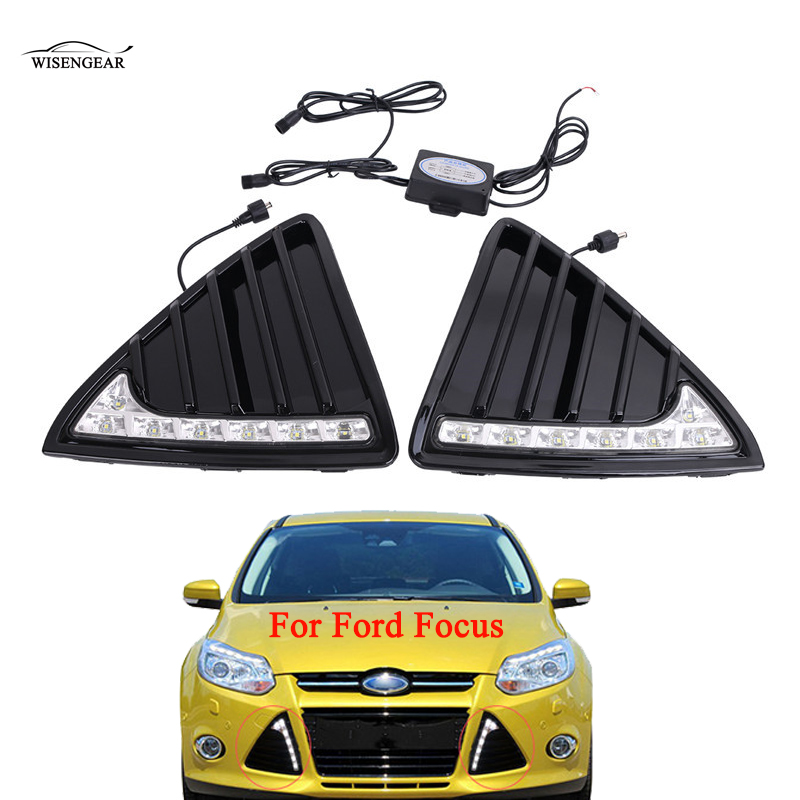 WISENGEAR For Ford Focus Car 12V LED Daytime Running Light DRL 2011 2012 2013 Auto Front Bumper Grill Fog Lamp Dimming Relay / 12v 55w car fog light assembly for ford focus hatchback 2009 2010 2011 front fog light lamp with harness relay fog light