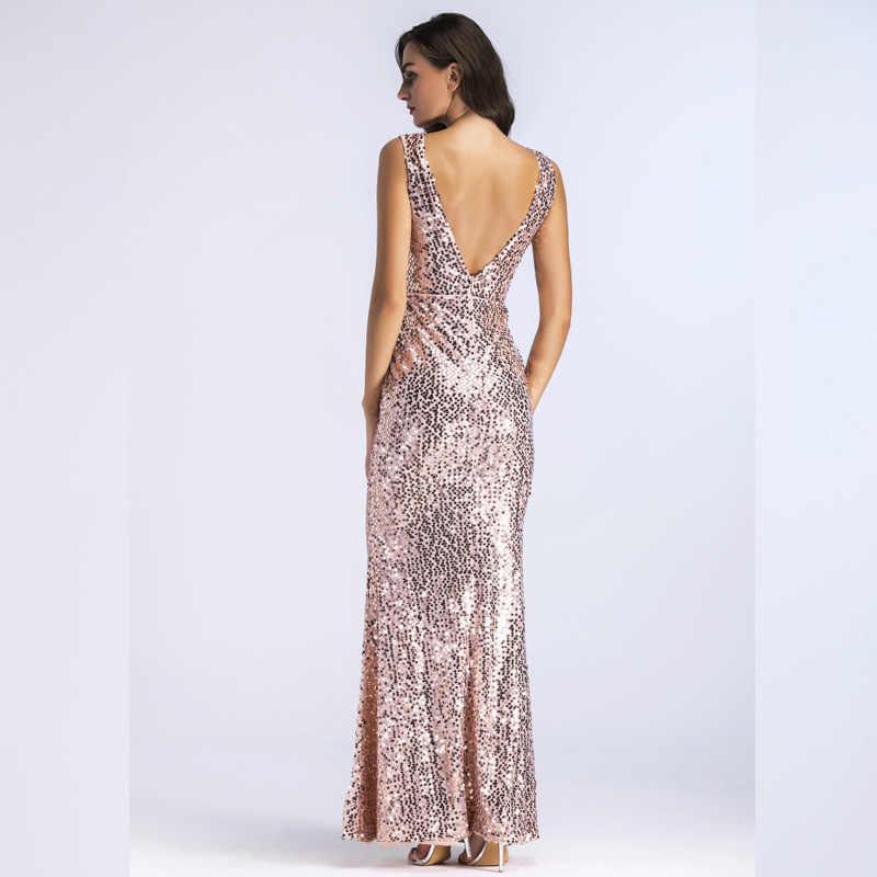cb0c96086f ... Summer Dress Women 2019 Sexy Deep V Neck Backless Maxi Dress Female  Elegant Wedding Bridesmaid Mermaid