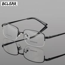 BCLEAR Half Rim Alloy Front Optical Eyeglasses Frame for Men and Women Eyewear Fashion Brand Designer Business Frames