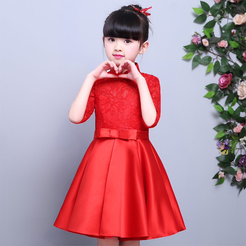 Chinese Style Traditional Red Color Dress For Girls Children Kids Cheongsam Lace Dresses Baby Princess Wedding Birthday Dresses summer dresses styles chinese cheongsams for girls traditional chinese dress for children tang suit baby costumes