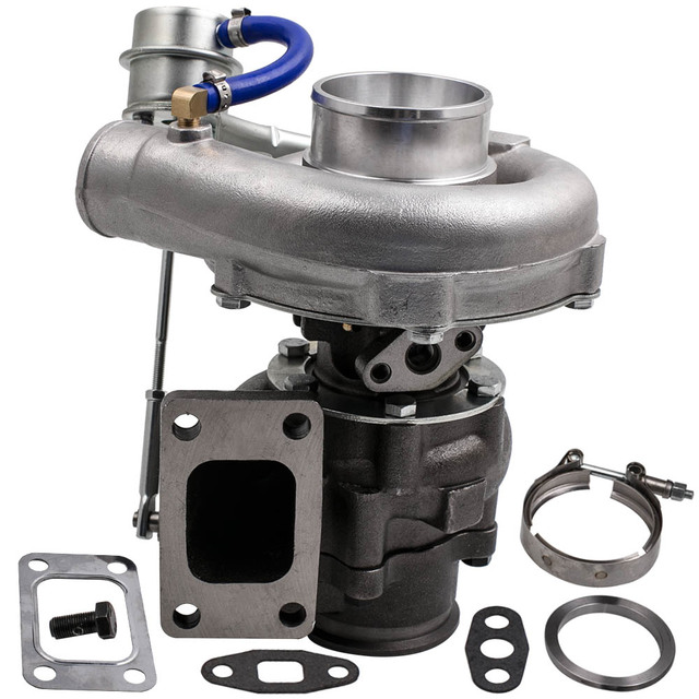 Universal Turbo Kit 4 Cylinder: Universal Turbo T3 T4 T04E A/R .50 A/R .63 V Band Oil 2.0