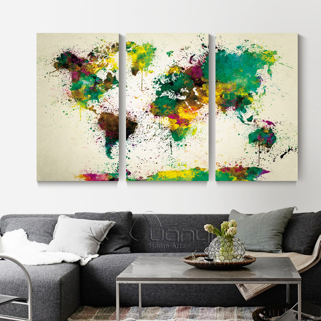 3 Panel Canvas Wall Art Canvas Painting World Watercolor Map ...