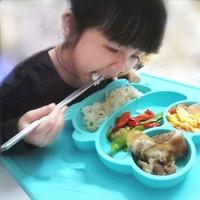 유아 아기 어린이 식품 플레이스 원피스 실리콘 개구리 모양 트레이 나누어 접시 그릇 플레이트 아기 식품 플레이스 식기
