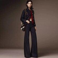 Autumn Women's Fashion Mid Waist Stretch Big Bell Bottom Jeans , Female Woman Elastic Flare Denim Trousers , Woman Jean Pants