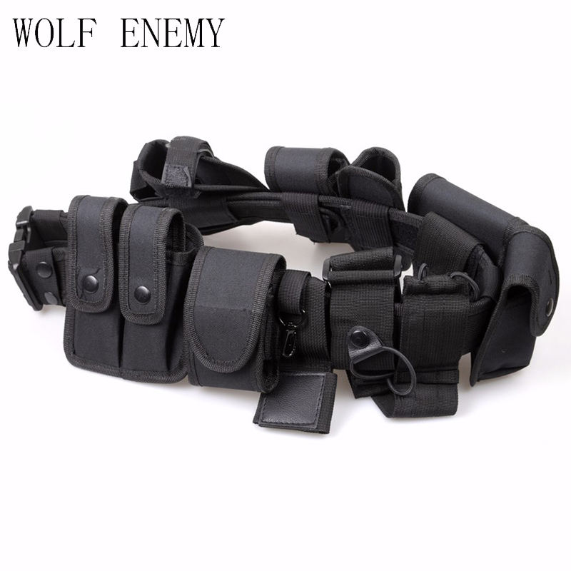 Multifunctional Security Belts Tactical Military Training Polices Guard Utility Kit Duty Hunting Accessories with Pouch Set
