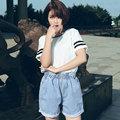 2016 Bolsillos Sólido Moda de Alta de Algodón Nueva Promoción de La Llegada Pantalones Vaqueros de la Edición de Corea Sueltos Yardas Grandes Mujeres ropa Pantalones Cortos G32
