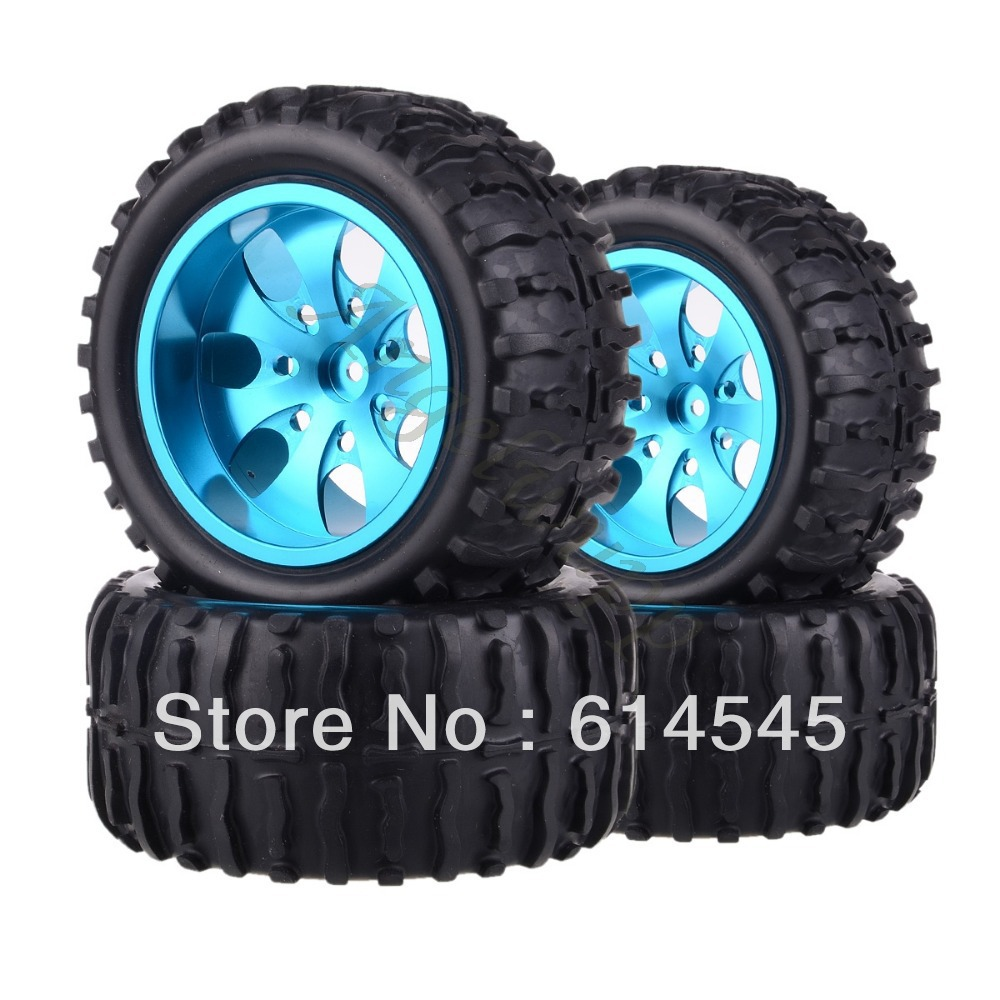 4xRC Monster Truck Bigfoot Metal 1:10 Wheel Rim & Tyre Tires 12MM HEX 88126 4pcs metal red beadlock wheel rim