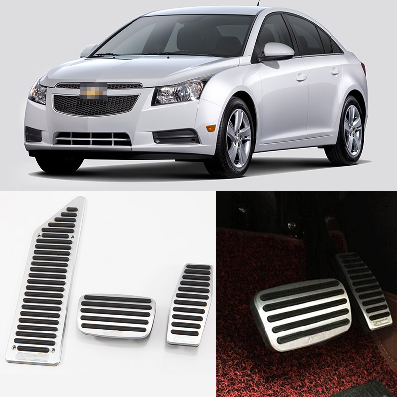 Brand New 3pcs Aluminium Non Slip Foot Rest Fuel Gas Brake Pedal Cover For Chevrolet Cruze 2009-2016 AT brand new 2pcs aluminium non slip foot rest fuel gas brake pedal cover for mazda cx 5 at 2013 2016