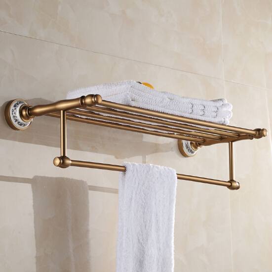 buy space aluminum bath towel rack bathroom towel holder antique double towel shelf from reliable towel fun suppliers on top sanitary ware - Bathroom Towel Holder