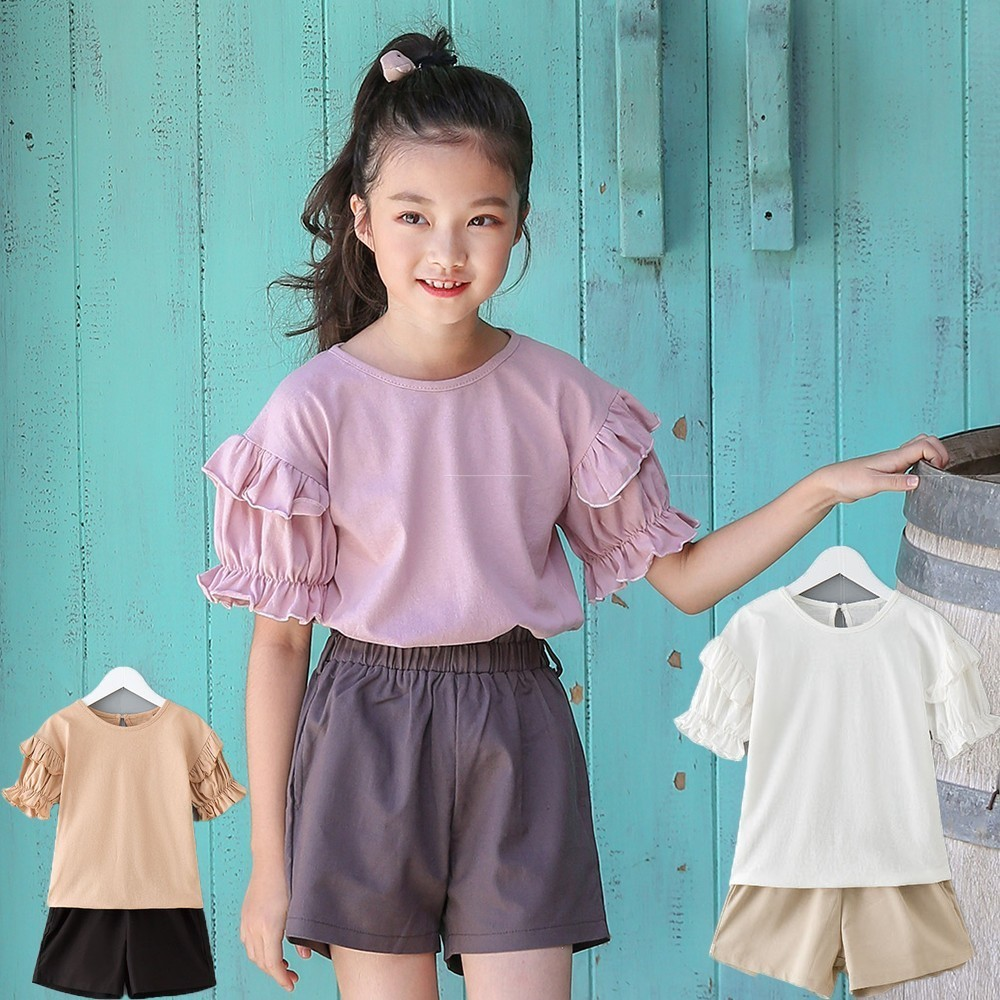 cotton kids girls shorts clothes set 2018 khaki white pink t shirts tops + shorts children clothing sets summer girls sport suit