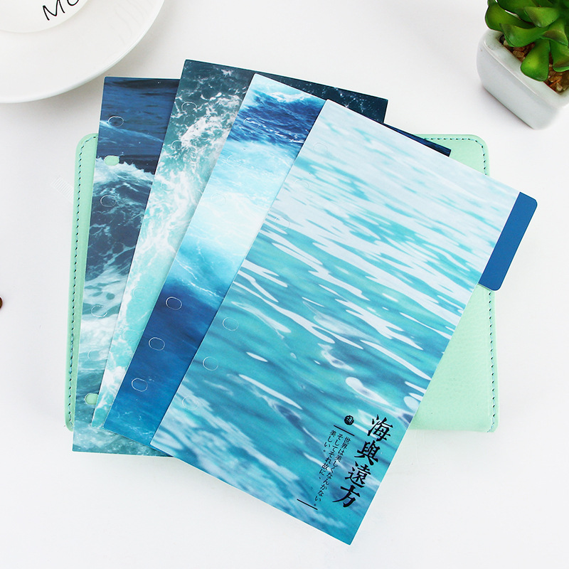 EZONE 4 Sheets A5/A6 6 Holes PP Colored Notebook's Index Page Plants Matte Loose-leaf Book Category Page School Office Supply Lahore