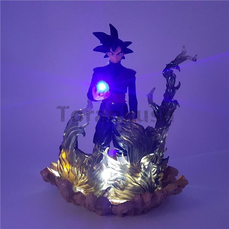 Dragon Ball Z Action Figures Black Son Goku Zamasu Led Light Dragon Ball Anime Super Saiyan DBZ 150mm