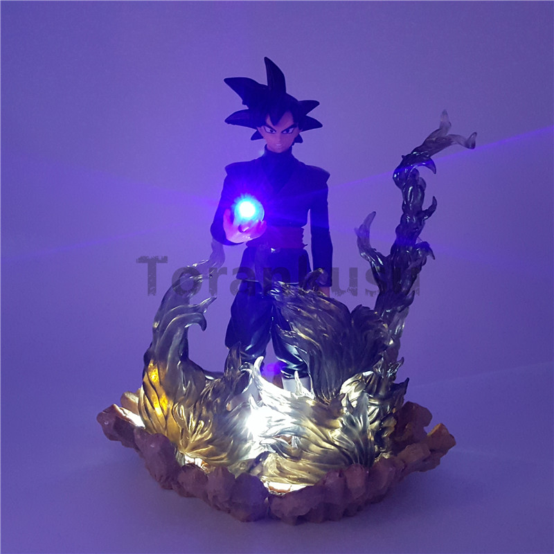 Dragon Ball Z <font><b>Action</b></font> Figures Black Son Goku Zamasu Led Light Dragon Ball Anime Super Saiyan DBZ 150mm