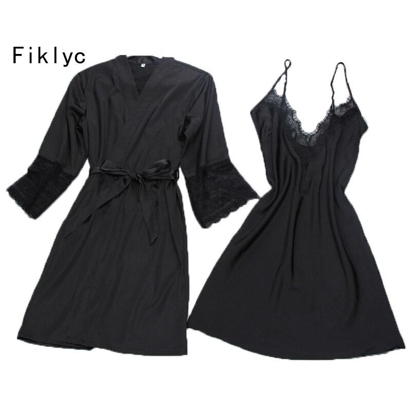 Fiklyc marca sexy mujer Bata y vestido conjunto twinest Albornoz + mini vestido de noche dos piezas ropa de dormir mujer sueño conjunto imitación seda