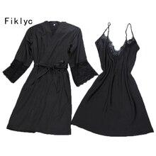 Fiklyc מותג סקסי נשים של robe & שמלת סטי twinest חלוק רחצה + מיני לילה שמלת שתי חתיכות הלבשת שנת נשים סט פו משי