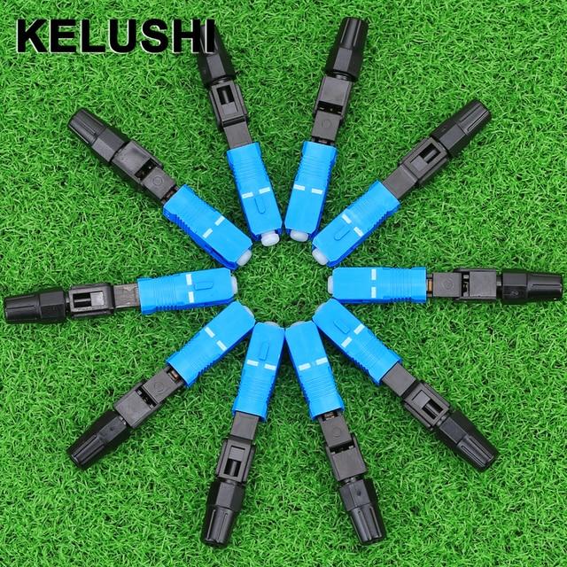 KELUSHI 100 stücke/SC UPC Optic Faser Schnell Anschluss FTTH SC Einzigen Modus UPC Schnelle Stecker