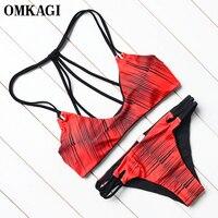 OMKAGI Swimwear Swimsuit Women 2017 Bikini Push Up Bandage Bikini Set Bathing Suit Biquini Beach Maillot