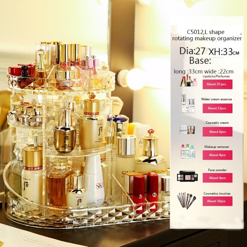 HTB12iTdXRSD3KVjSZFqq6A4bpXaW - Rotating Crystal Cosmetic Storage Box 360 Degree Rotation Transparent Acrylic Cosmetics Storage Box