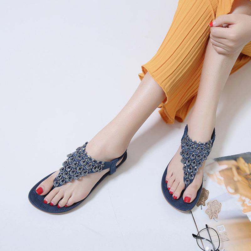 SIKET shoes woman sandals wedding Women Flat Bead Bohemia Lady Flip Flops  Hollow Sandals Peep Toe Outdoor Shoes zapatos mujer A5-in Low Heels from  Shoes on ... 519ccaaf7ffb
