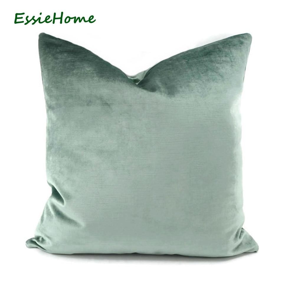 ESSIE บ้านหรูหราแสงสีเขียว A Qua สีเขียวไข่สีเขียวกำมะหยี่ผ้าฝ้ายมารยาทปลอกหมอนอิงปลอกหมอนเอวปลอกหมอน