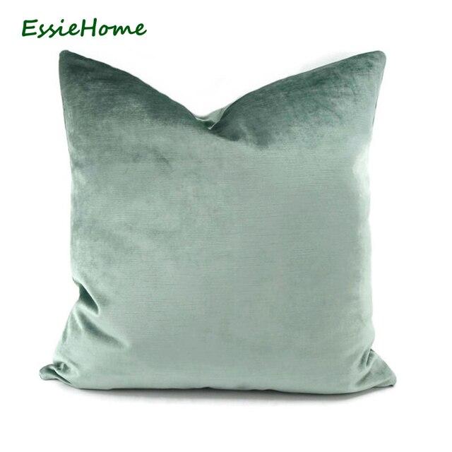 5bcb771dbec6 ESSIE HOME Luxury light Green Aqua Green Egg Green Faux Cotton Velvet  Cushion Cover Pillow Case Lumbar Pillow Case