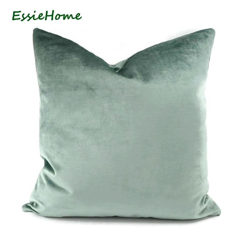 ESSIE HOME Luxury light Green Aqua Green Egg Green Faux Cotton Velvet Cushion Cover Pillow Case Lumbar Pillow Case