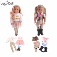 Luckdoll sells new 18 inch American dolls and 5 sets of doll clothes accessories toys for Christmas