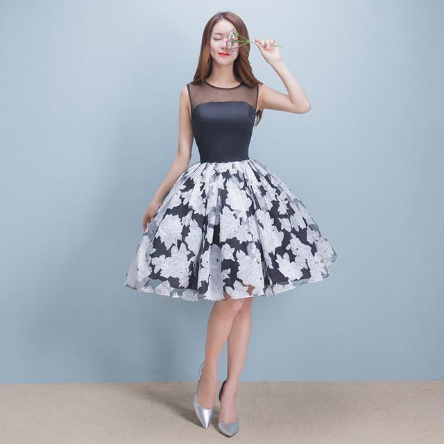 Sin Mangas del o-cuello Elegante Impreso Balón vestido Corto Vestido de Noche 2016 Más El Tamaño de Envío Rápido