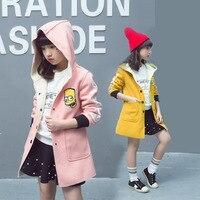 2017 High Quality Girl Coat Korean Fashion Coat For Girl Autumn Winter Outerwear Girls Headcount Clothes