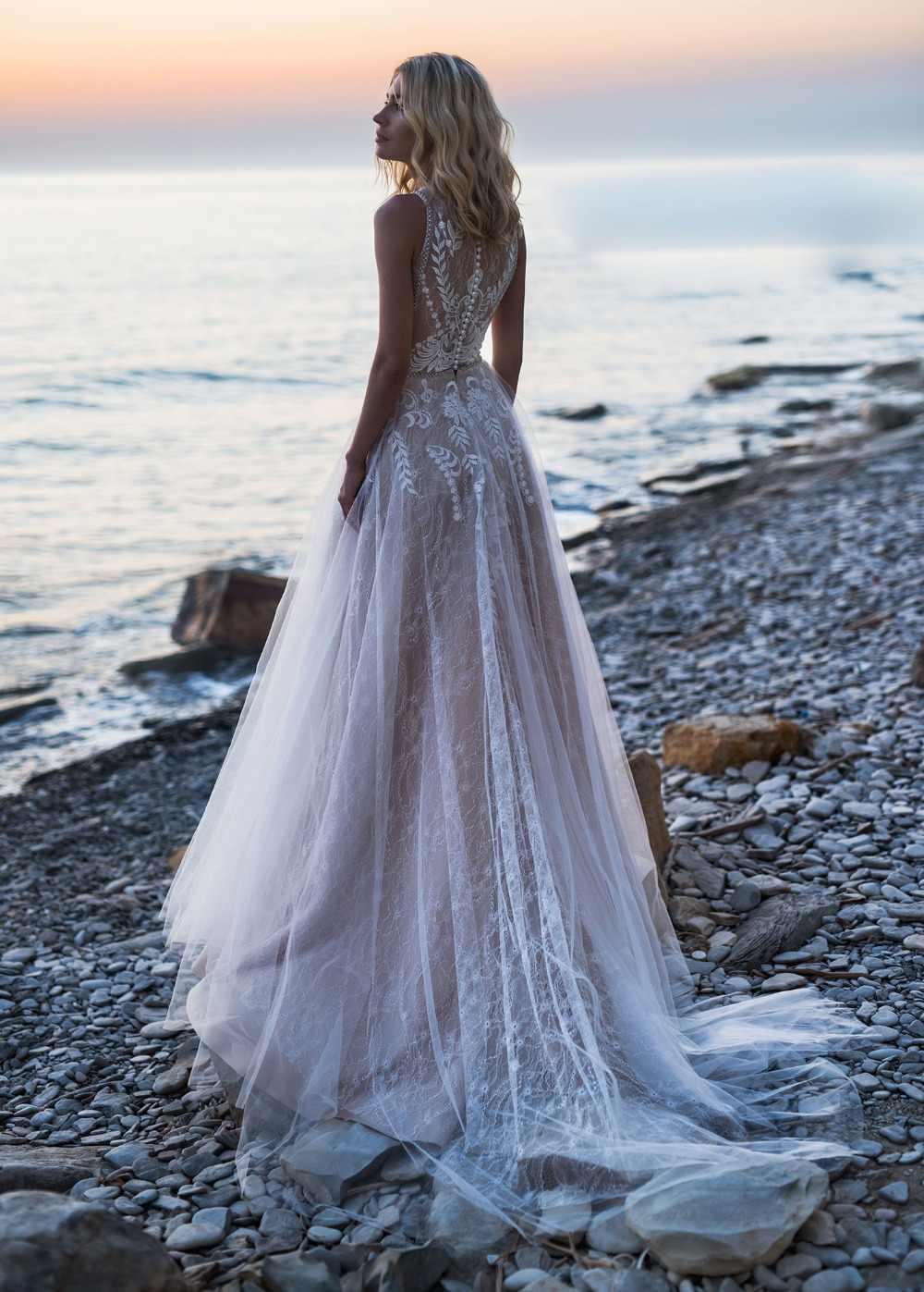 2019 בוהמי חתונת שמלות תכשיט תחרה אפליקציות חרוזים כלה שמלות כפתור חזרה חוף קו חתונת שמלת חלוק דה Mariee