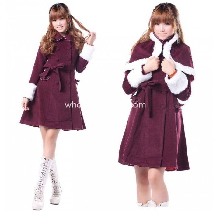 Недорогое милое бордовое шерстяное милое зимнее пальто Лолита пальто готическая лолита шерстяное пальто