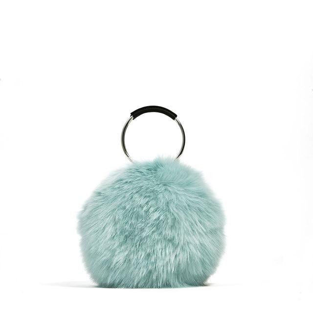 552ae0cfcbc1 2018 Autumn Winter All-match Bucket Bag Small Fur Fashion Women Evening  Party Clutch Bag Ring Top-handle Ladies Handbag