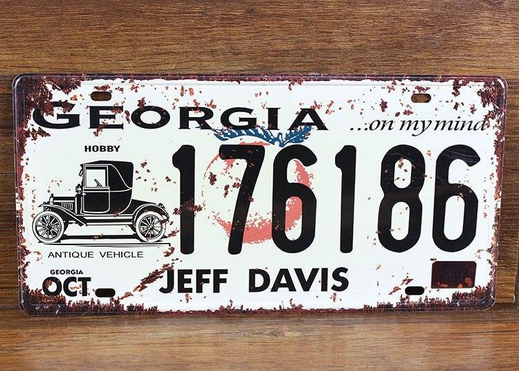 UA-CP-00175 metal painting vintage tin signs License car number  176186 car plates cafe pub wall art craft decor 30*15 CM