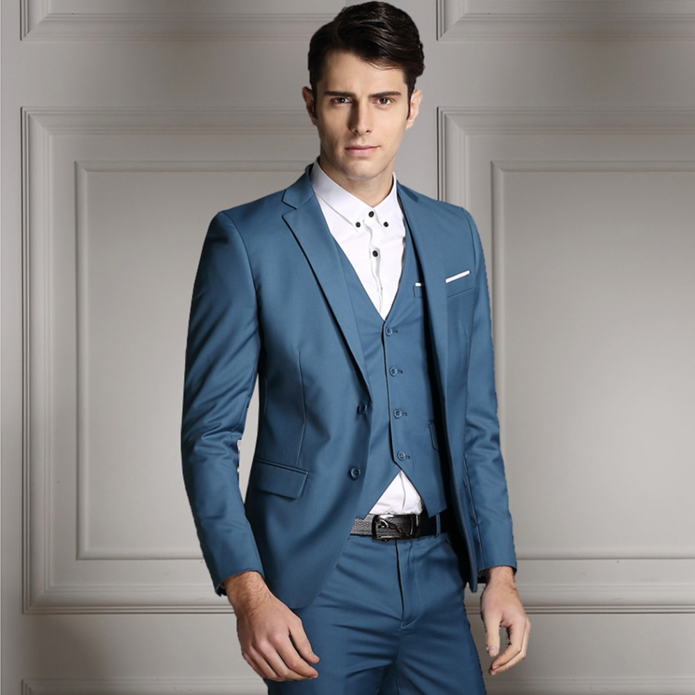 Latest Coat Pant Designs Light Blue Men Wedding Suits Slim Fit ...