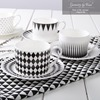 220CC Black And White Bone China Coffee Mug Saucers Set European Ceramic Tea Cup Creative Drinkware