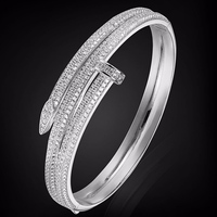 four Plated Color Cubic Zircon Bangles For Party Couple Gifts Jewelry Women's Copper bridal Bangle Gold Color Love Chain Bangle