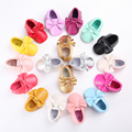 White Branded Baby Shoes Girls Kids Moccs Toddler Leather Sole Moccasins Tassel Newborn Slippers Boys Infant Sneakers bebe Boots