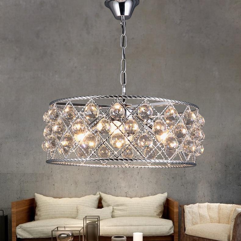 modern round crystal chandelier metal iron coffee shop bar dining room restaurant hanging lighting